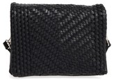 Street Level Woven Faux Leather Crossbody Bag - Black