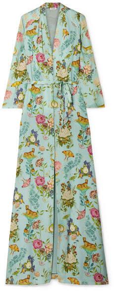 Vilshenko Sylvia Floral-print Silk-jacquard Maxi Dress - Mint