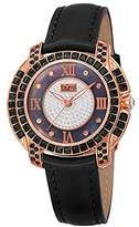 Burgi Women's BUR156BKR Rose Gold Quartz Watch With Diamond Mother of Pearl Swarovski Crystal Accented Dial & Bezel With Black Leather Strap