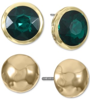 Style&Co. Style & Co Gold-Tone 2-Pc. Set Stone Bezel & Polished Dome Stud Earrings, Created for Macy's