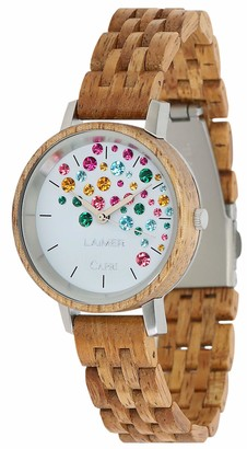 LAiMER Womens Analogue Quartz Watch with Wood Strap 109