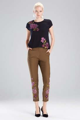 Natori Stretch Twill Embroidered Pants