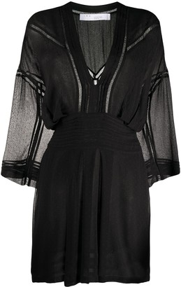 IRO Sheer Pleated Detail Mini Dress