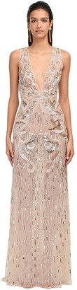 ZUHAIR MURAD Embellished Tulle Long Dress