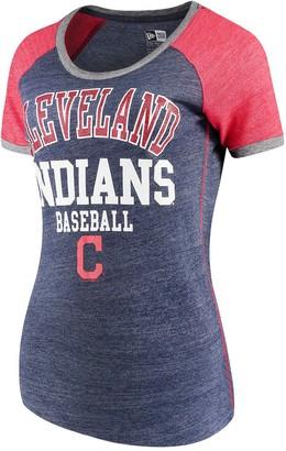 New Era Women's 5th & Ocean by Navy Cleveland Indians Jersey Tri-Blend Raglan T-Shirt