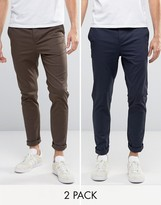 Asos 2 Pack Skinny Chinos In Navy And Brown