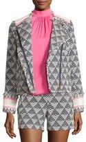 Trina Turk Tia Triangle-Pattern Fringe-Trim Jacket, Indigo/Whitewash