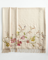 Jay Strongwater Cream Poppy Throw