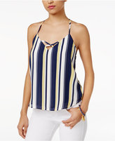 Lily Black Juniors' Striped Strappy-Back Camisole, Only at Macy's