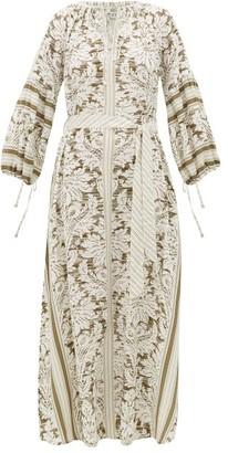 D'Ascoli Southampton-print Silk-crepe Maxi Dress - Green Print