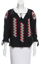 Ulla Johnson Embroidered Three-Quarter Sleeve Top