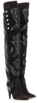 Isabel Marant Becky embellished suede and leather over-the-knee boots