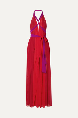 Marika Vera Cutout Chiffon Halterneck Maxi Dress - Red