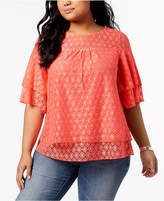 NY Collection Plus Size Layered Geo-Lace Top