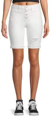 No Boundaries Juniors' Authentic Destructed Bermuda Shorts
