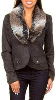 Costablanca Costa Blanca Faux Fur Collar One- Button Jacket