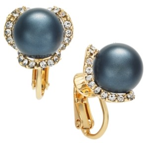 Charter Club Gold-Tone Pave & Imitation Pearl Clip-On Stud Earrings, Created for Macy's