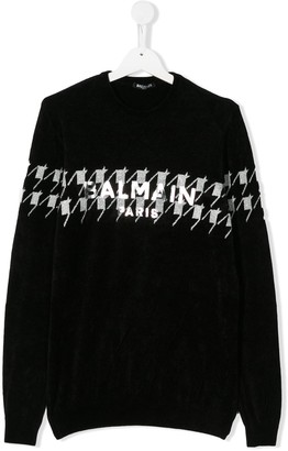Balmain Kids Metallic Logo Jumper