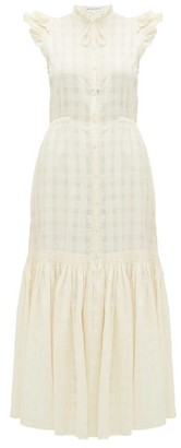 Apiece Apart Pacifica Check-jacquard Cotton Maxi Dress - Womens - Cream