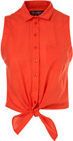 Red Sleeveless Tie Front Shirt