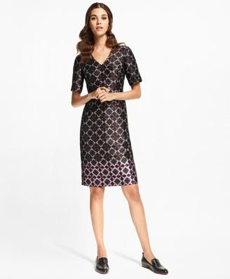 Brooks Brothers Geometric Jacquard Sheath Dress