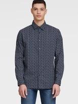 DKNY Long Sleeve Navy Flower Print Shirt