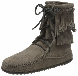 Minnetonka Women's Doublefringetramperboot Mocassins Grey (549 Black/Black/Pink) 41 UK