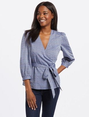 Draper James Embroidered Dot Chambray Wrap Top