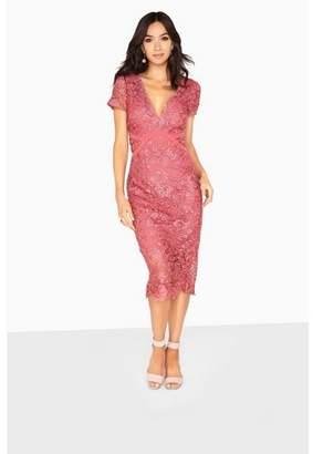 Dorothy Perkins Womens **Little Mistress Pink Lace Midi Bodycon Dress