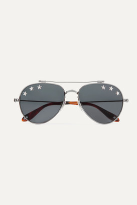 Givenchy Embellished Aviator-style Silver-tone Sunglasses