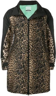 Pinko leopard jacquard zip-up coat