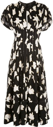 Proenza Schouler Iris-Painted Fitted Waist Dress