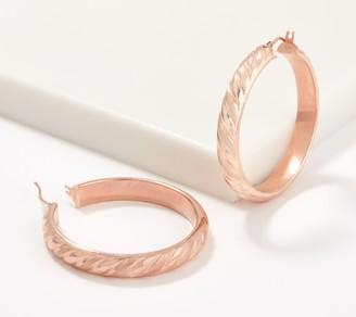 """Italian Gold 1-1/2"""" Satin Twist Hoop Earrings 14K Gold"""