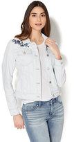 New York & Co. Soho Jeans - Embroidered Denim Jacket - Light Blue Acid Wash
