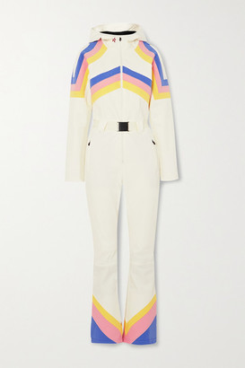 Perfect Moment Tignes Hooded Belted Striped Ski Suit - White