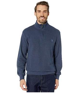 U.S. Polo Assn. Men's 1/4 Zip Mock Neck Flat Back Rib Pullover