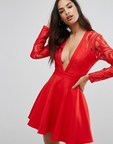 Missguided Plunge Lace Sleeve Skater Dress