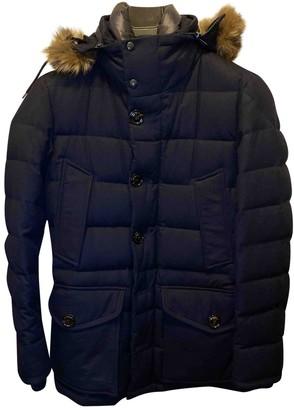 Moncler Fur Hood Navy Wool Coats