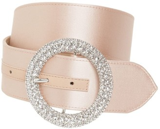 B-Low the Belt 40mm Clara Satin Belt W/crystal Buckle