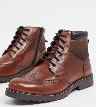 Ben Sherman wide fit brogue lace up ankle boots in tan leather