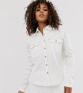 Asos Tall DESIGN Tall denim relaxed shirt in white