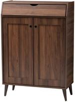 Design Studios Cormier Modern Walnut Brown Finished 2-Door Wood Entryway Shoe Storage Cabinet
