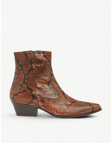LK Bennett Choral snake-print leather ankle boots