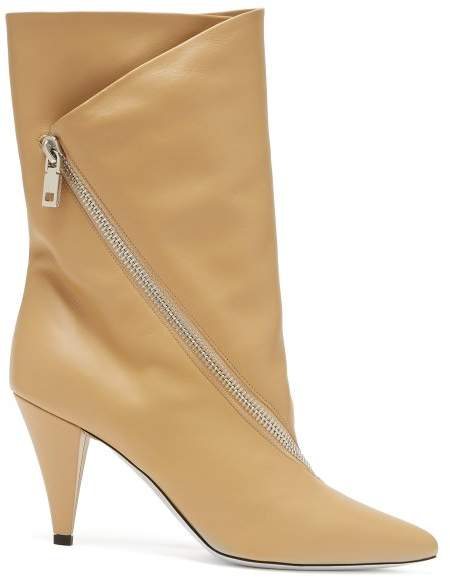 Givenchy Point Toe Calf Height Leather Boots - Womens - Beige