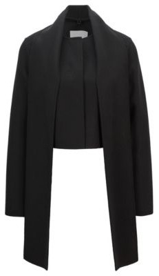 HUGO BOSS Cropped Regular Fit Jacket With Detachable Scarf - Black