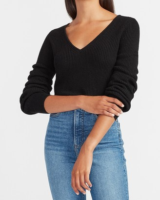 Express Ribbed Balloon Sleeve V-Neck Sweater