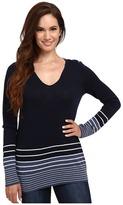 Pendleton Petite V-Neck Stripe Pullover