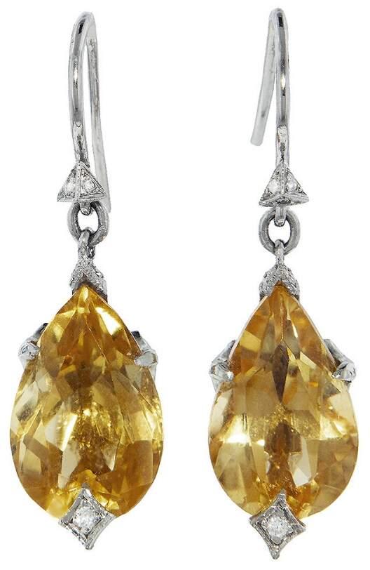 Cathy Waterman Citrine Briarpatch Earrings - Platinum