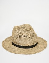 Asos Straw Fedora Hat With Faux Leather Band