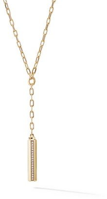 David Yurman Barrels Y Necklace with Diamonds in 18K Yellow Gold